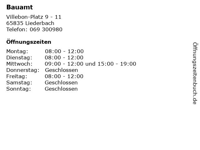 Bauamt in Liederbach: Adresse und Öffnungszeiten