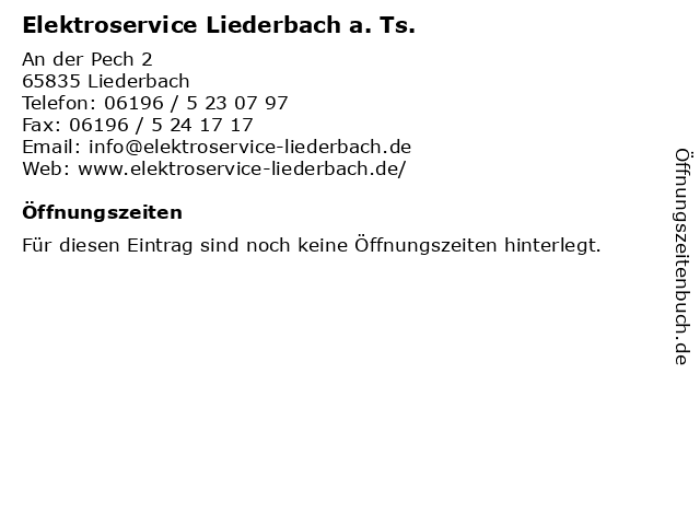 Elektroservice Liederbach a. Ts. in Liederbach: Adresse und Öffnungszeiten
