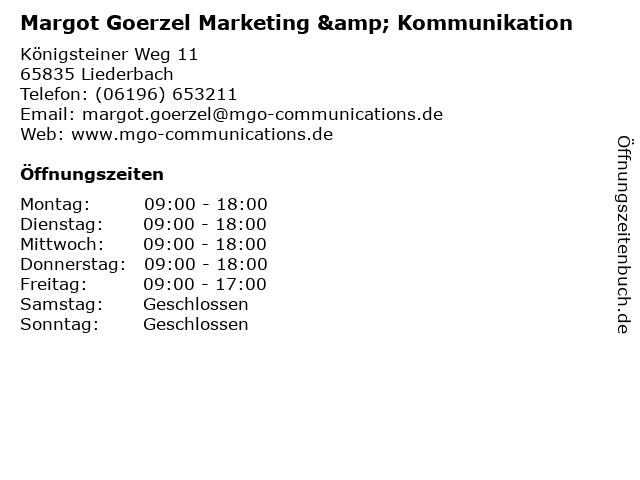 Margot Goerzel Marketing & Kommunikation in Liederbach am Taunus: Adresse und Öffnungszeiten