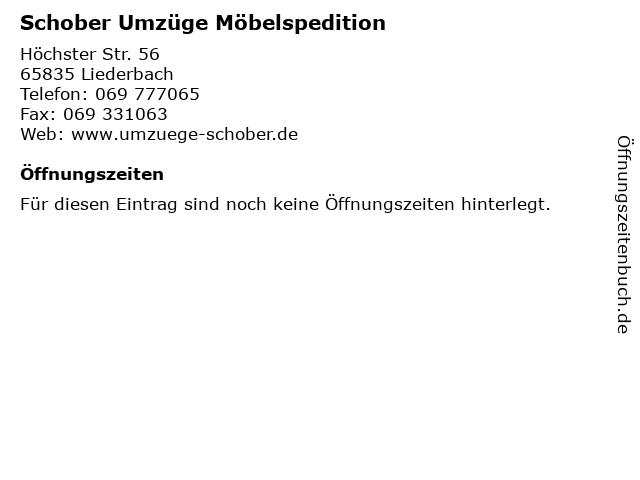 Schober Umzüge Möbelspedition in Liederbach: Adresse und Öffnungszeiten