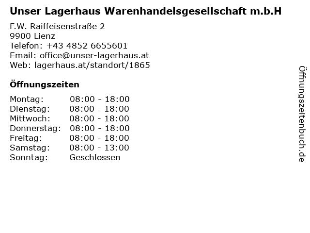 Unser Lagerhaus Warenhandelsgesellschaft m.b.H in Lienz: Adresse und Öffnungszeiten