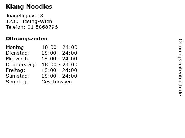 Kiang Noodles in Liesing-Wien: Adresse und Öffnungszeiten