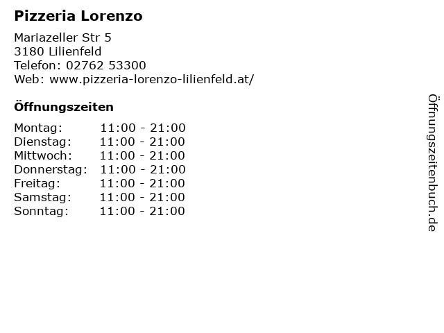 Pizzeria Lorenzo in Lilienfeld: Adresse und Öffnungszeiten