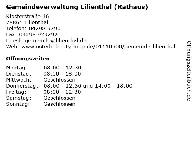 Gemeindeverwaltung Lilienthal (Rathaus) in Lilienthal: Adresse und Öffnungszeiten