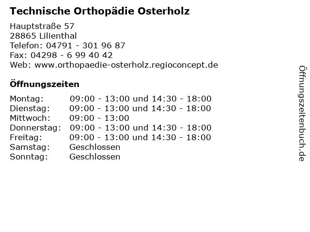 Technische Orthopädie Osterholz in Lilienthal: Adresse und Öffnungszeiten