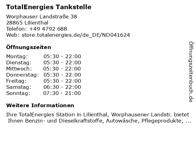 TotalEnergies Tankstelle in Lilienthal: Adresse und Öffnungszeiten