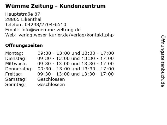 Wümme Zeitung - Kundenzentrum in Lilienthal: Adresse und Öffnungszeiten