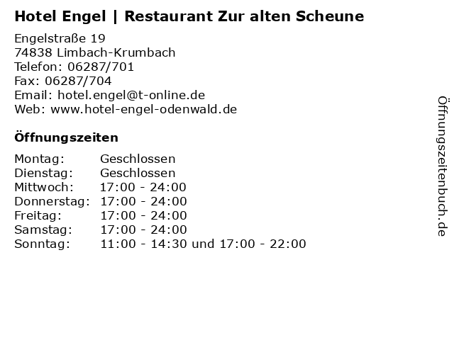 Hotel Engel | Restaurant Zur alten Scheune in Limbach-Krumbach: Adresse und Öffnungszeiten