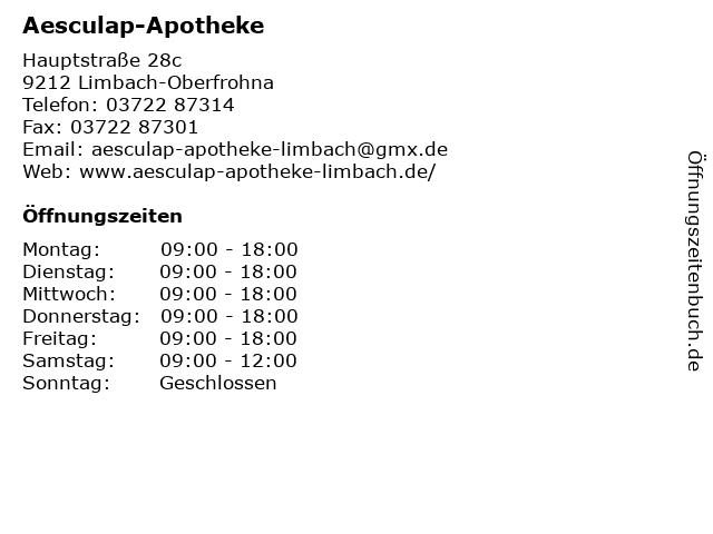 Aesculap-Apotheke in Limbach-Oberfrohna: Adresse und Öffnungszeiten