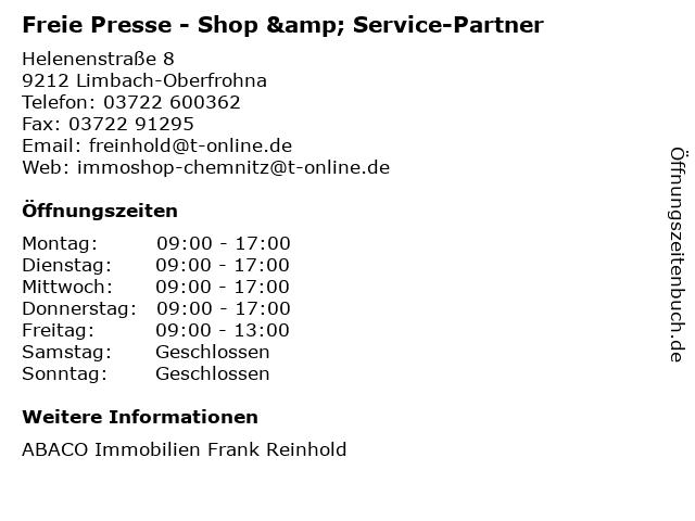 Freie Presse - Shop & Service-Partner in Limbach-Oberfrohna: Adresse und Öffnungszeiten