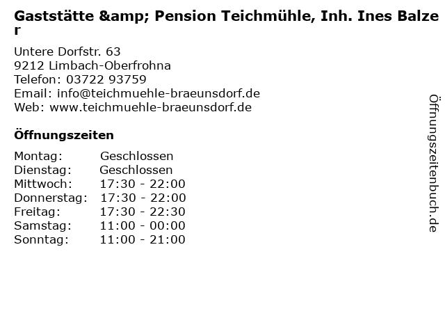 Gaststätte & Pension Teichmühle, Inh. Ines Balzer in Limbach-Oberfrohna: Adresse und Öffnungszeiten