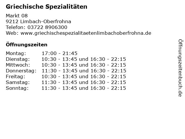 Griechische Spezialitäten in Limbach-Oberfrohna: Adresse und Öffnungszeiten