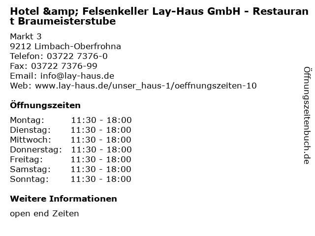 Hotel & Felsenkeller Lay-Haus GmbH - Restaurant Braumeisterstube in Limbach-Oberfrohna: Adresse und Öffnungszeiten