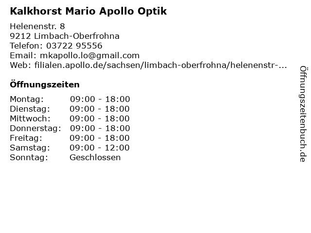 Apollo-Optik Holding GmbH & Co. KG in Limbach-Oberfrohna: Adresse und Öffnungszeiten