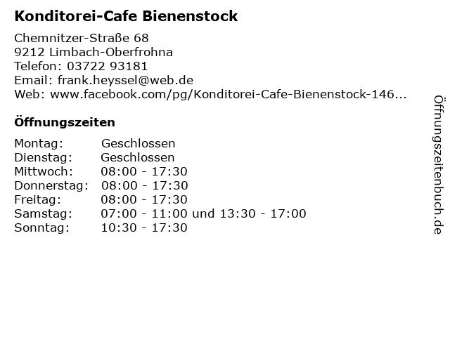 Konditorei-Cafe Bienenstock in Limbach-Oberfrohna: Adresse und Öffnungszeiten