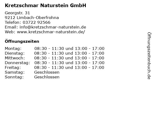 Kretzschmar Naturstein GmbH in Limbach-Oberfrohna: Adresse und Öffnungszeiten