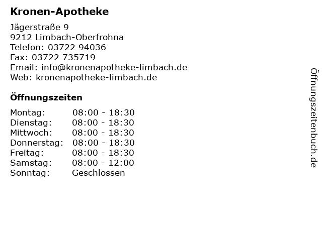 Kronen-Apotheke in Limbach-Oberfrohna: Adresse und Öffnungszeiten