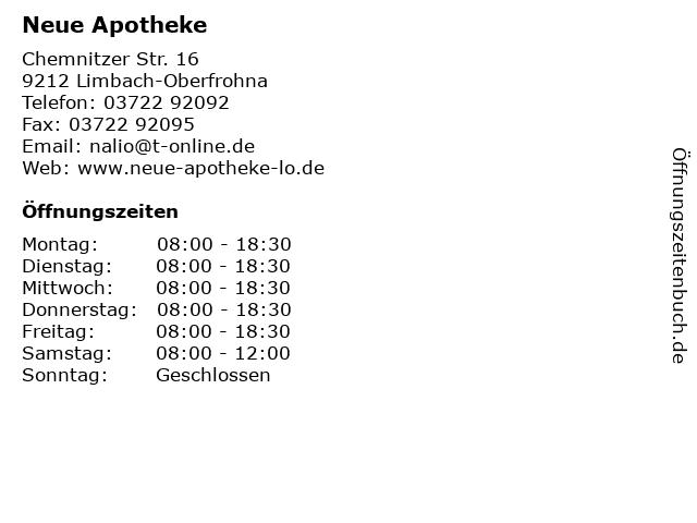 Neue Apotheke in Limbach-Oberfrohna: Adresse und Öffnungszeiten