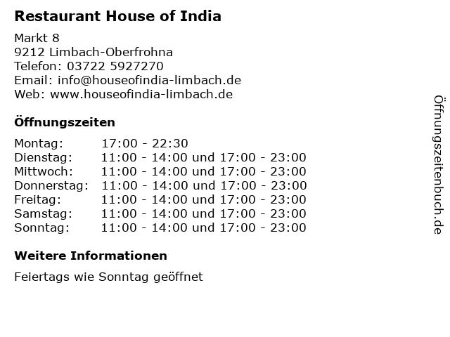 Restaurant House of India in Limbach-Oberfrohna: Adresse und Öffnungszeiten