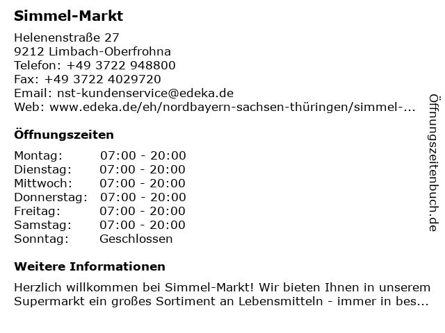 Simmel-Markt in Limbach-Oberfrohna: Adresse und Öffnungszeiten