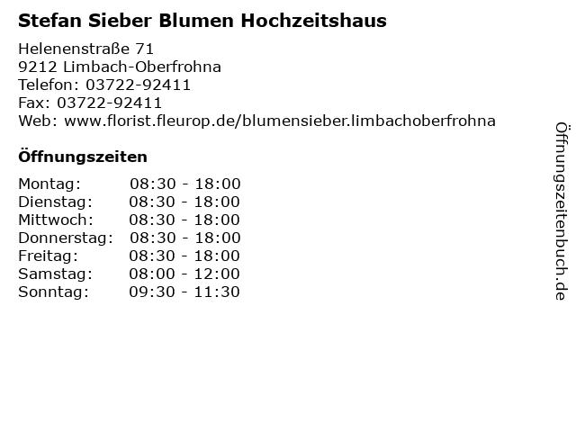 Stefan Sieber Blumen Hochzeitshaus in Limbach-Oberfrohna: Adresse und Öffnungszeiten