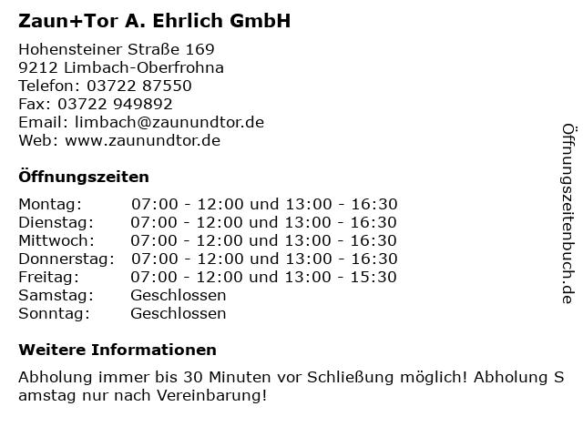 ᐅ Offnungszeiten Zaun Tor A Ehrlich Gmbh Hohensteiner Strasse