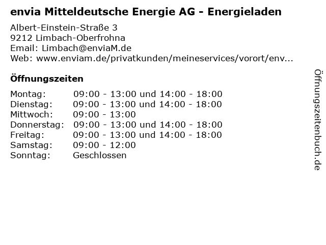 envia Mitteldeutsche Energie AG - Energieladen in Limbach-Oberfrohna: Adresse und Öffnungszeiten
