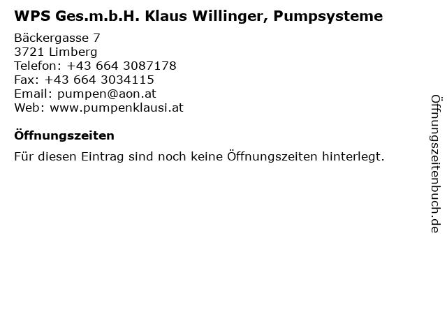 WPS Ges.m.b.H. Klaus Willinger, Pumpsysteme in Limberg: Adresse und Öffnungszeiten