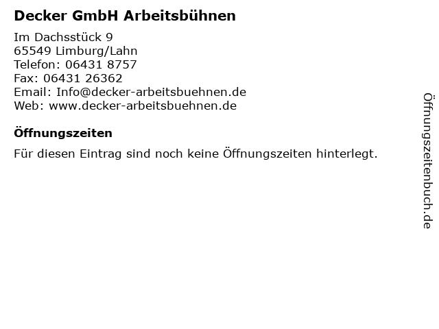 Decker GmbH Arbeitsbühnen in Limburg/Lahn: Adresse und Öffnungszeiten