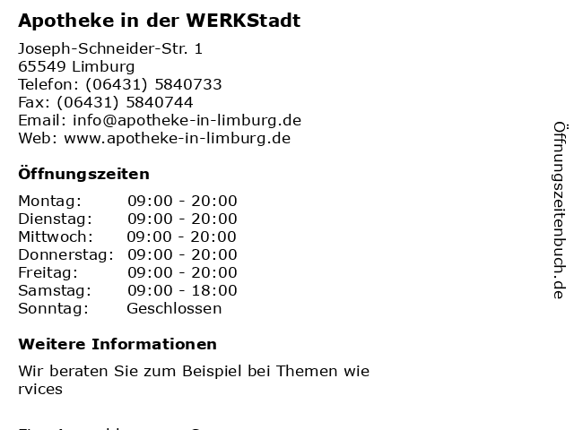 Apotheke in der WERKStadt in Limburg: Adresse und Öffnungszeiten