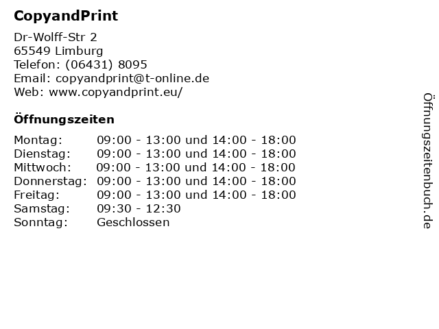 ᐅ öffnungszeiten Copyandprint Dr Wolff Str 2 In Limburg