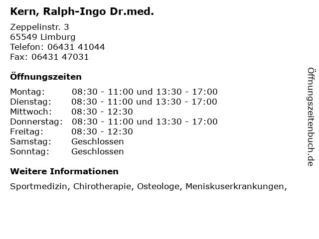 Kern, Ralph-Ingo Dr.med. in Limburg: Adresse und Öffnungszeiten
