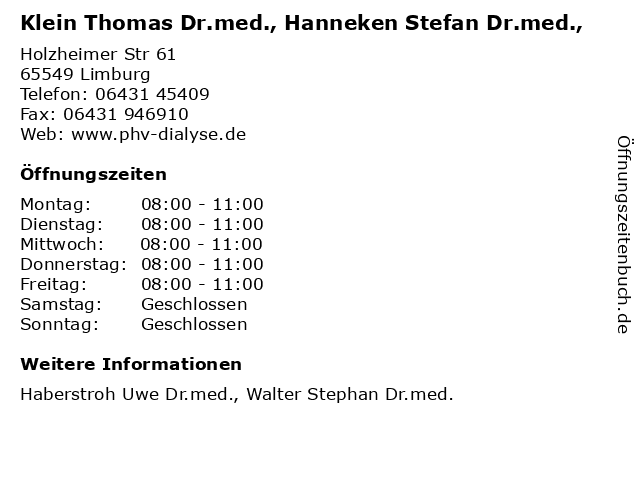 Klein Thomas Dr.med., Hanneken Stefan Dr.med., in Limburg: Adresse und Öffnungszeiten