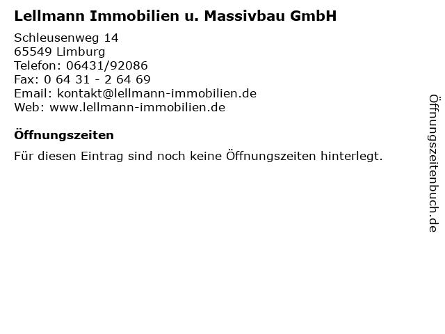 Lellmann Immobilien u. Massivbau GmbH in Limburg: Adresse und Öffnungszeiten