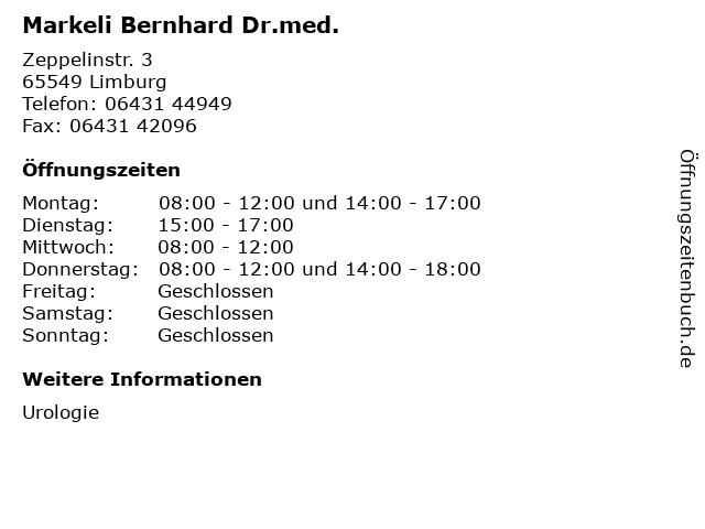 Markeli Bernhard Dr.med. in Limburg: Adresse und Öffnungszeiten