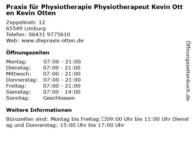 Praxis für Physiotherapie Physiotherapeut Kevin Otten Kevin Otten in Limburg: Adresse und Öffnungszeiten