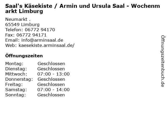 Saal's Käsekiste / Armin und Ursula Saal - Wochenmarkt Limburg in Limburg: Adresse und Öffnungszeiten