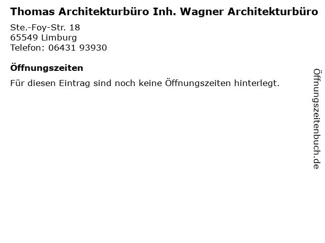 Thomas Architekturbüro Inh. Wagner Architekturbüro in Limburg: Adresse und Öffnungszeiten