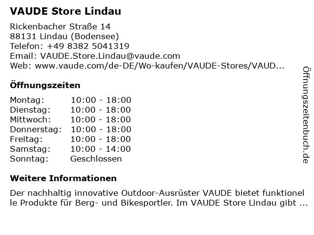 VAUDE Store Lindau in Lindau (Bodensee): Adresse und Öffnungszeiten