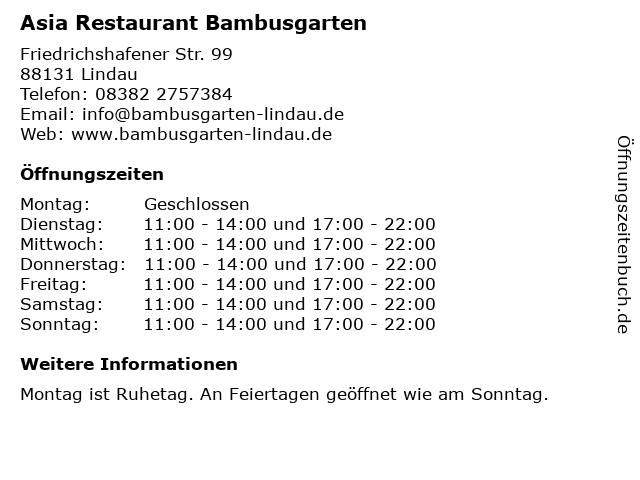 Asia Restaurant Bambusgarten in Lindau: Adresse und Öffnungszeiten