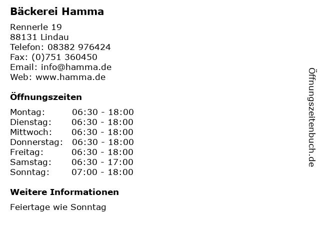 Bäckerei Hamma in Lindau: Adresse und Öffnungszeiten