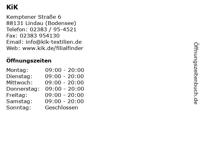 KiK in Lindau: Adresse und Öffnungszeiten