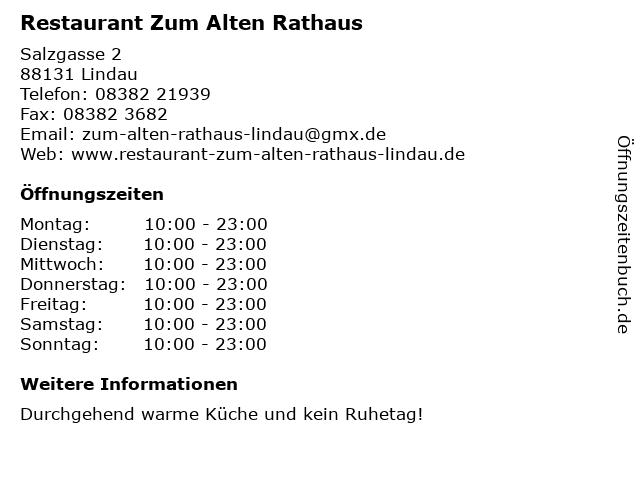 Restaurant Zum Alten Rathaus in Lindau: Adresse und Öffnungszeiten
