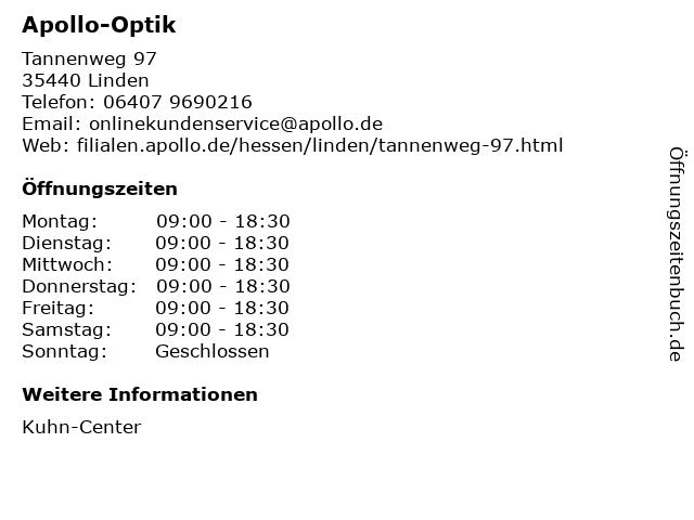 Apollo-Optik Holding GmbH & Co. KG in Linden: Adresse und Öffnungszeiten