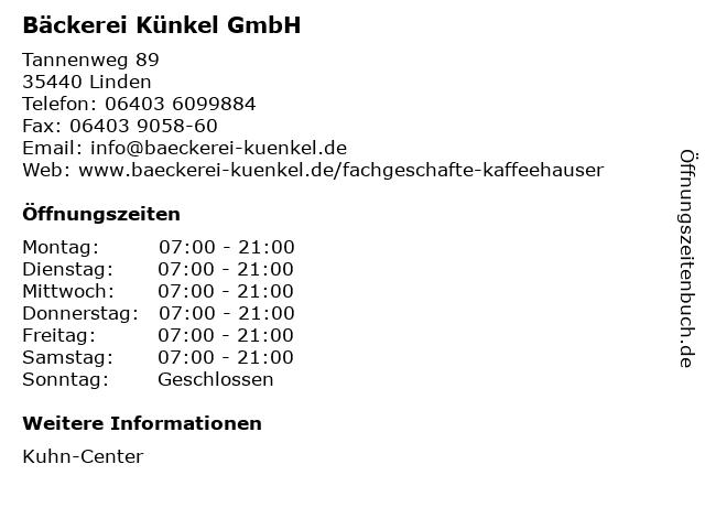 Bäckerei Künkel GmbH in Linden: Adresse und Öffnungszeiten