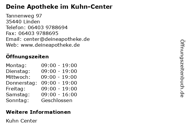Deine Apotheke im Kuhn-Center in Linden: Adresse und Öffnungszeiten