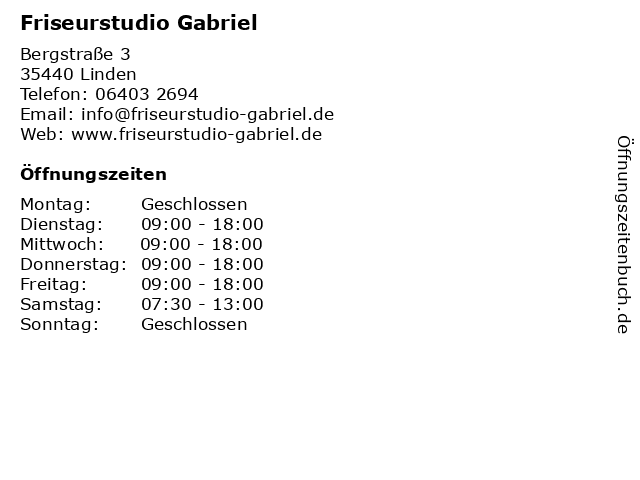 Friseurstudio Gabriel in Linden: Adresse und Öffnungszeiten