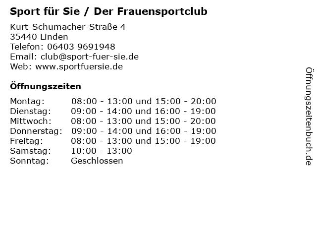 Sport für Sie / Der Frauensportclub in Linden: Adresse und Öffnungszeiten