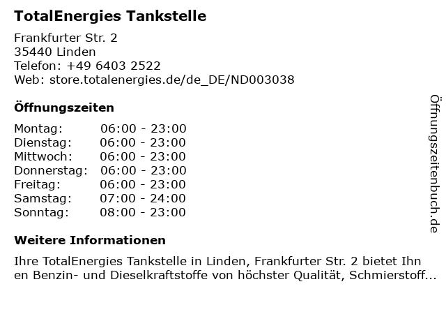 TOTAL Tankstelle in Linden: Adresse und Öffnungszeiten