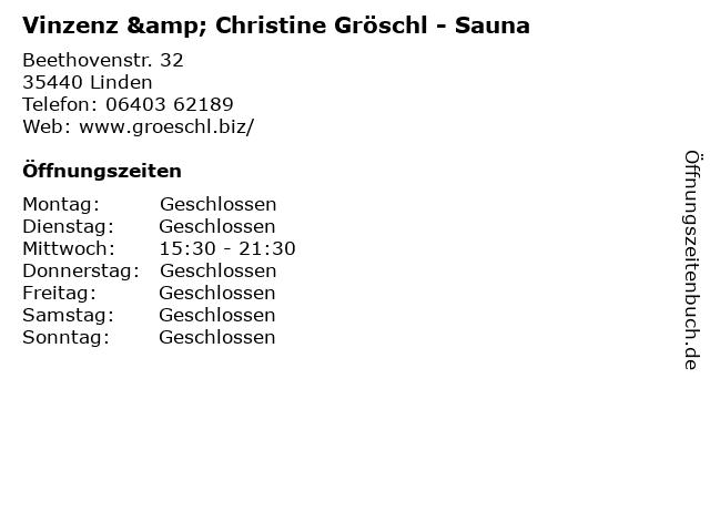 Vinzenz & Christine Gröschl - Sauna in Linden: Adresse und Öffnungszeiten